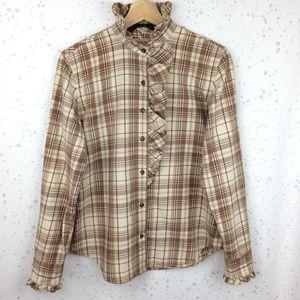 Lauren Ralph Lauren Plaid Ruffle Button Up Shirt M